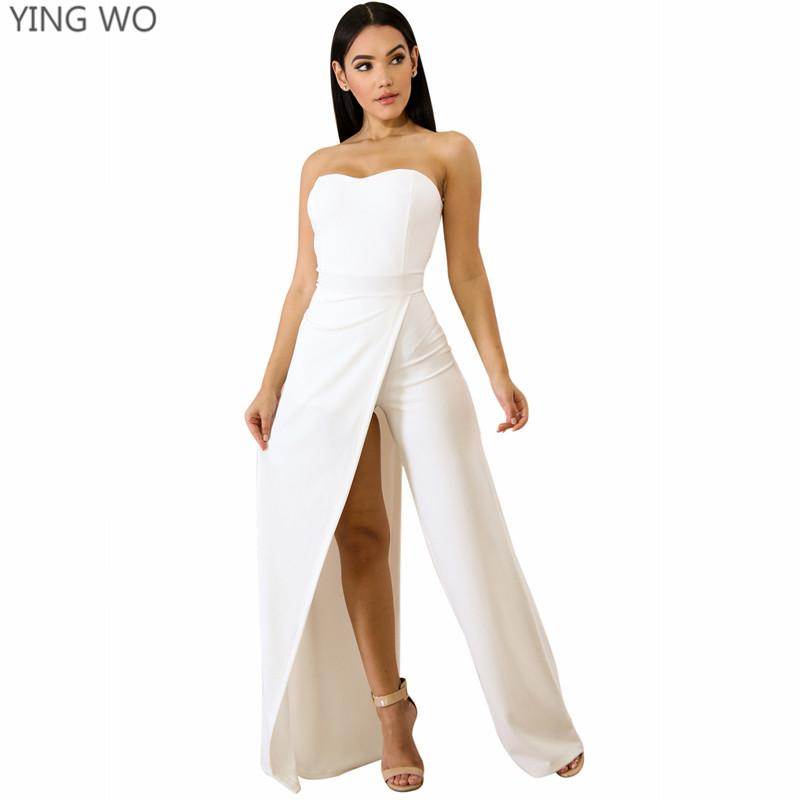 64cad1b77b8 2019 White Red Asymmetric Split Leg Strapless Jumpsuit Hot Sexy Women  Nightout Club Wear Sweetheart Neckline Wide Bell Legs Jumpsuit From  Clothfirst