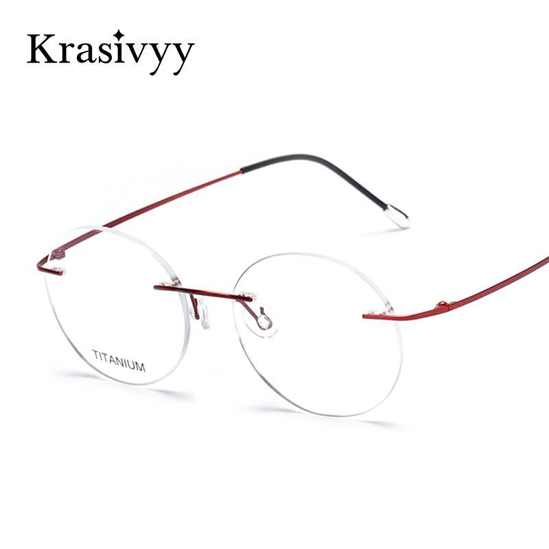 925a75ca6ae Vintage Rimless Glasses Frame Women Titanium Ultralight Eyeglasses ...