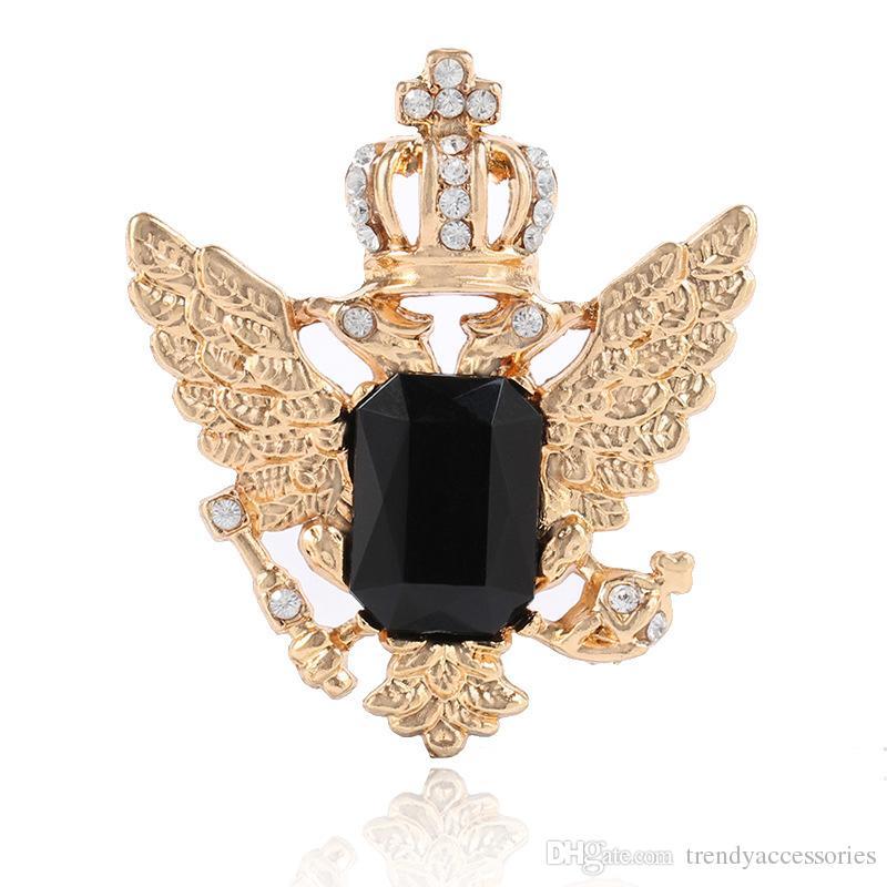 Crystal Diamond Crown Angel Wings Badge Brooch