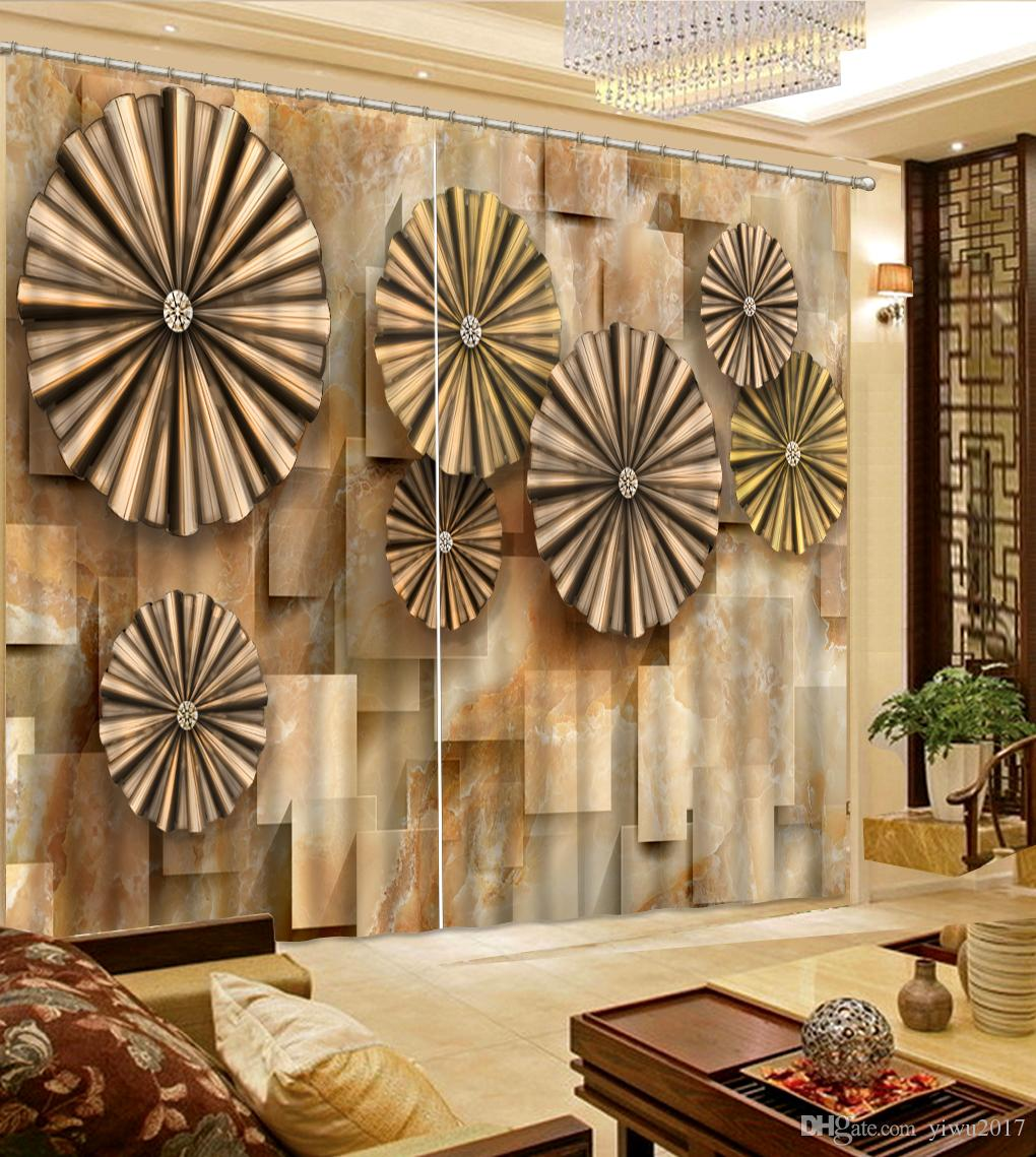 Modern style simple 3D Curtain jade flower marble painting Window Curtain For Living room Bedroom Hotel Drapes Cortina