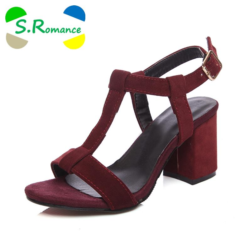 7c2d0891f86f3 S.Romance Women Sandals Plus Size 34-43 Fashion Summer Buckle Strap ...