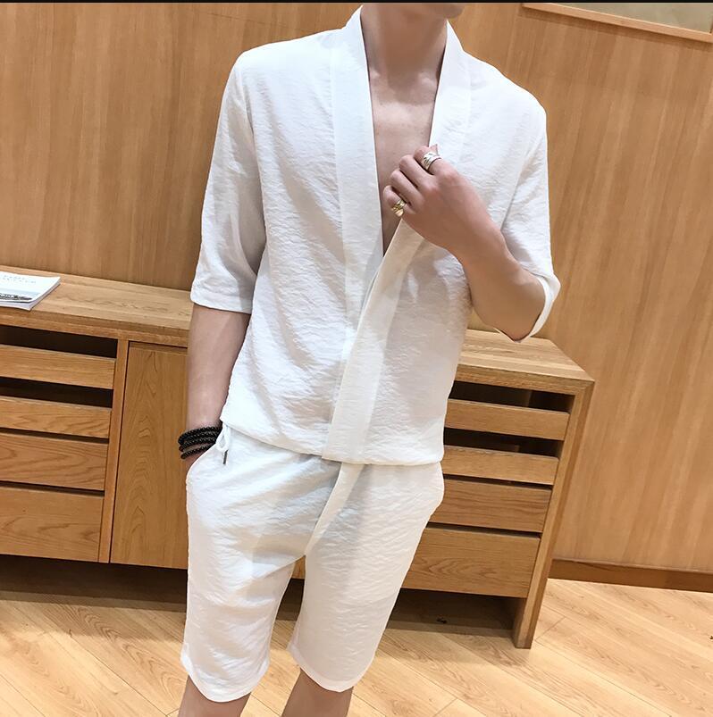 2017 Benzersiz Tasarımcı V boyun erkek Smokin Gömlek Kore Moda Slim Fit Elbise Gömlek Erkekler Için Gömlek Rahat Büyük Boy 2 Adet Setleri
