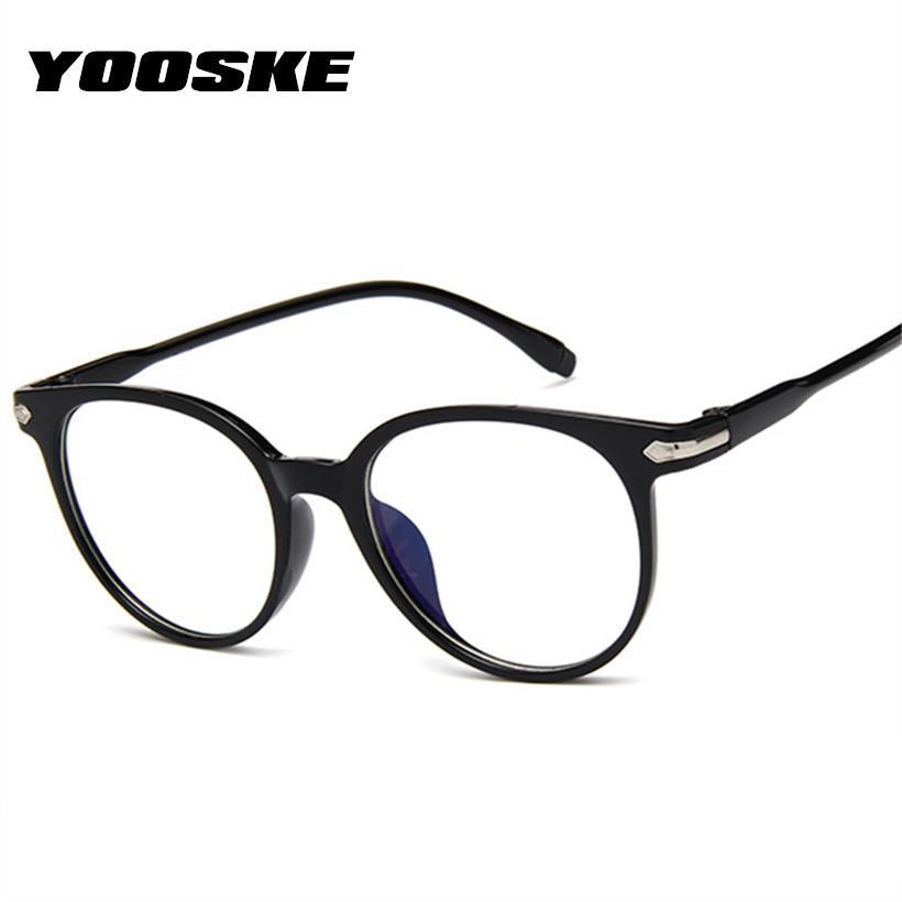 bfe0ef4ceeef5 Compre YOOSKE Limpar Falso Óculos Homens Rodada Armações De Óculos Ópticos  Do Vintage Para As Mulheres Óculos Transparentes Quadro De Melontwo, ...