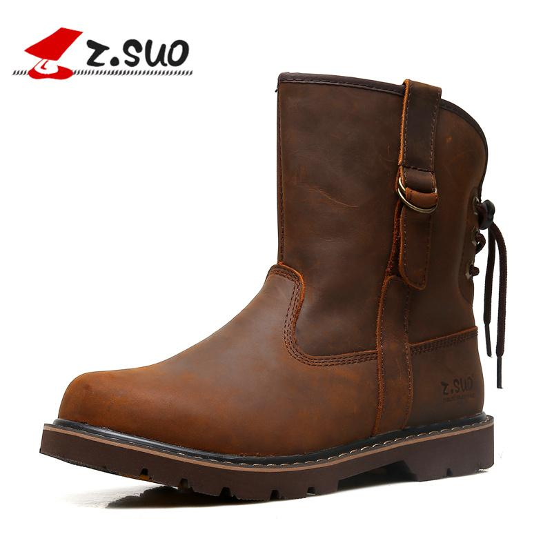 c38c386424cf Z.SUO Brand 992 Men S Autumn Crazy Horse Leather Martin Boots Strong Man  Medium Leg Individual Back Shoelaces Motorcycle Boots Ladies Boots Cheap  Boots From ...