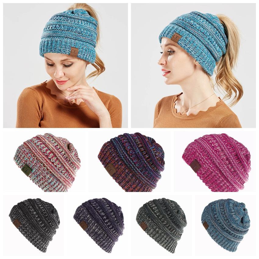Women CC Ponytail Crochet Knit Beanie Hat Winter Skullies Beanies ... 7e8de4619dbd