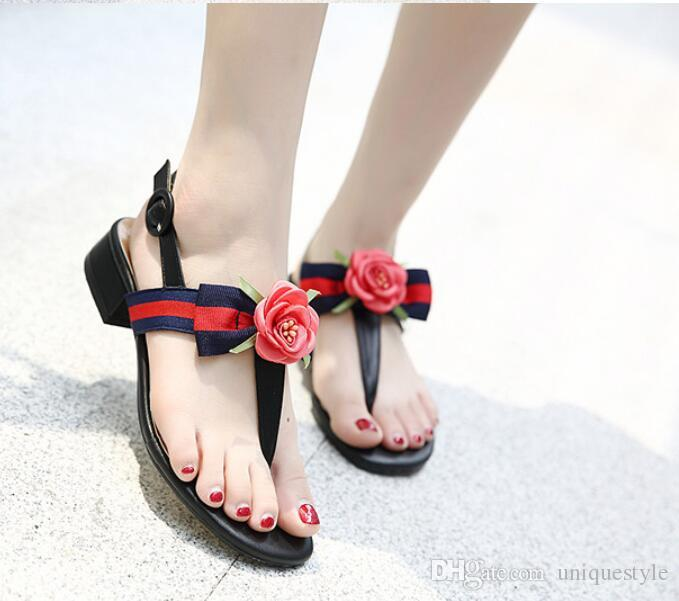 Sandalias de las mujeres de flores de seda de perlas de piel de oveja clásica moda suave Marcas verano sexy sandalias de playa de los pies dulces bonitos desnudos