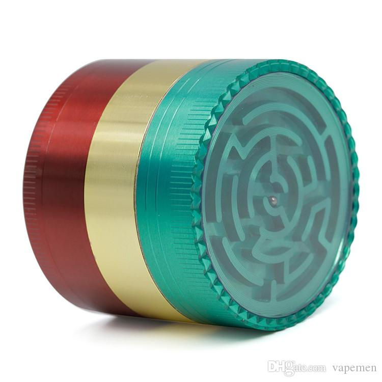 Herb Grinder Side 4parts 52mm three color mixed maze Zinc Alloy Smoking Metal Spice Crusher 5Colors OEM LOGO