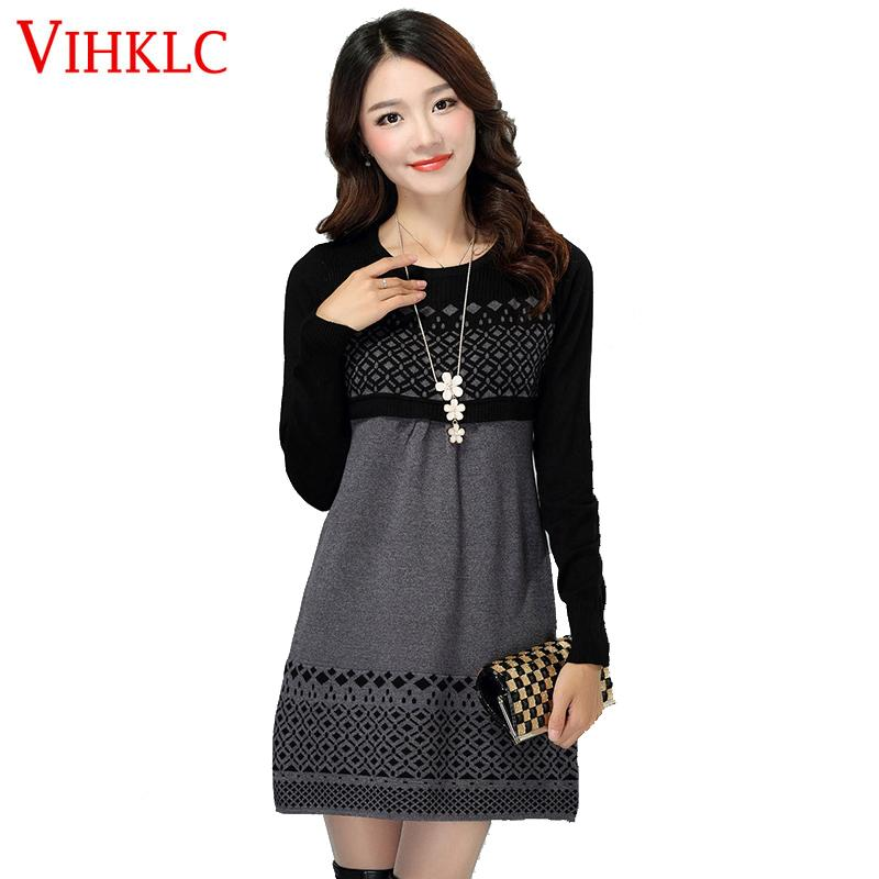 f19054ee64 2019 Women Autumn Winter Dress 2016 Cotton Knitted Plus Size Long Sleeve  Casual Dress One Piece Warm Cotton Sweater Dress S 3XL A480 C18110701 From  ...