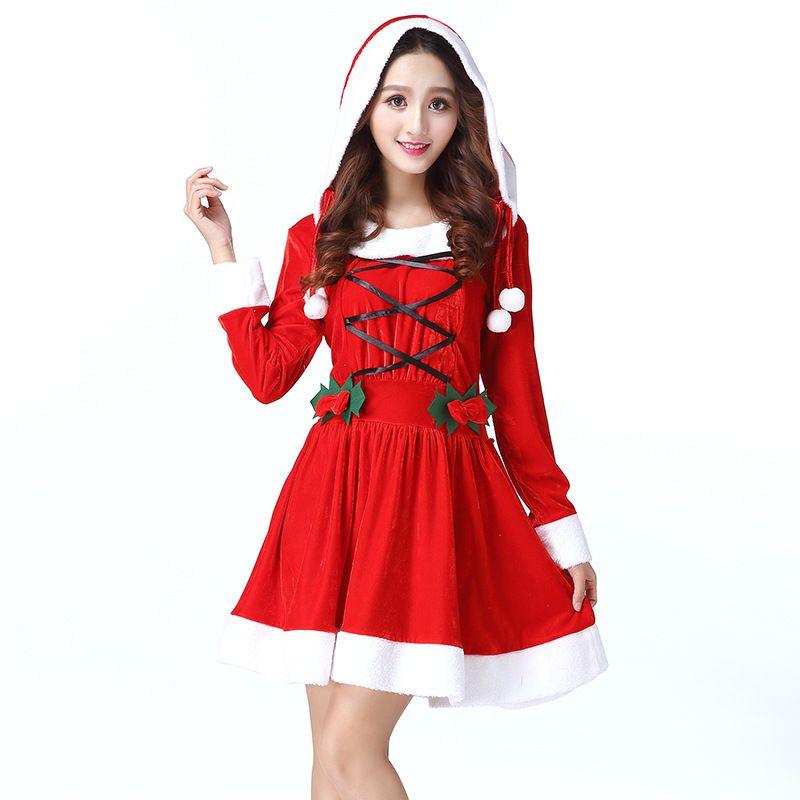 b38d8ca79fcc Nuevo disfraz de Navidad Adulto Cosplay de Navidad Sombrero Vestido Mujeres  Fantasia vestido de fantasía Dulce traje de Miss Santa