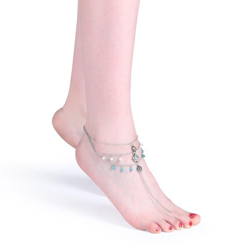 Vintage Cor Prata Ankle Bracelet Pé Jóias Barefoot Sandals pérola tornozeleira para mulheres praia turquesa verão tornozeleiras Bijoux