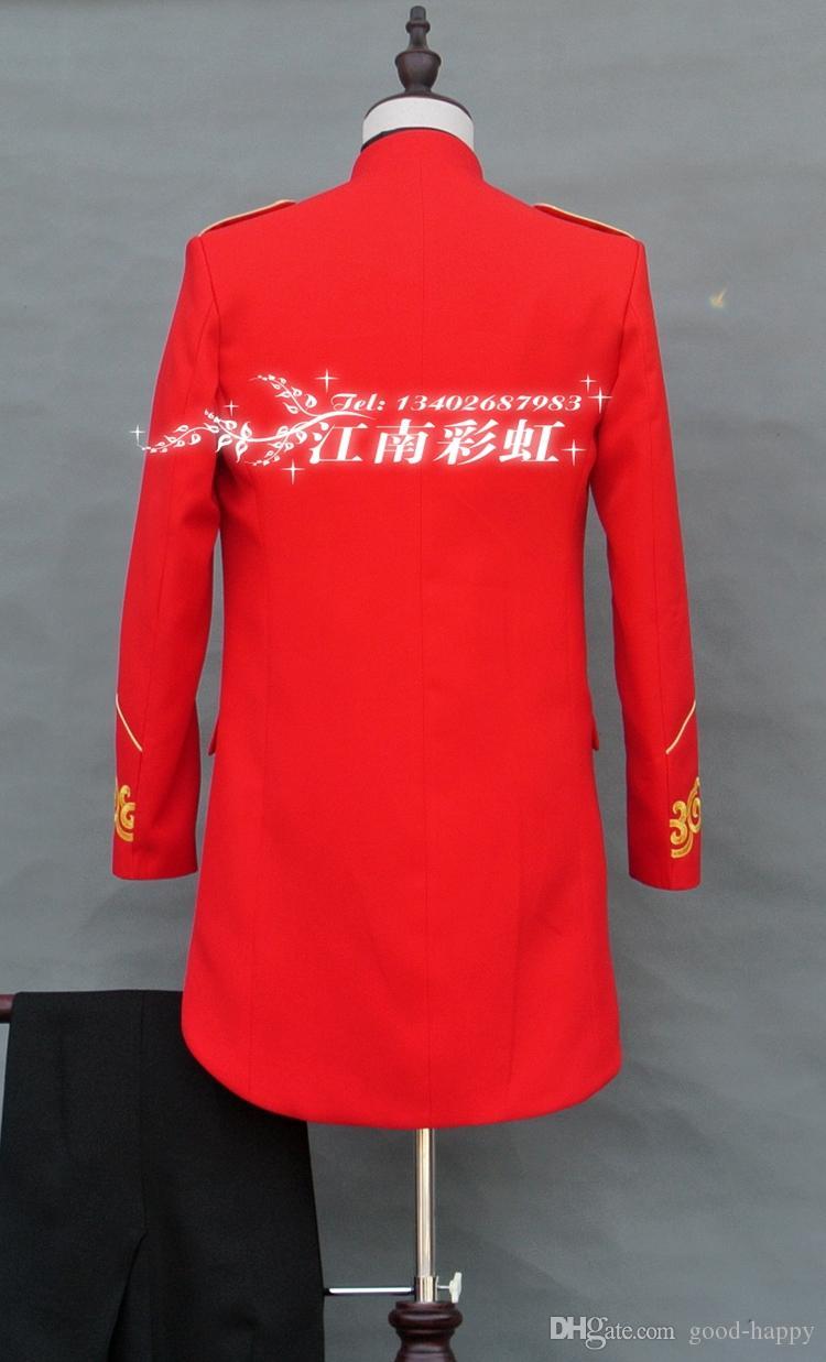 Trajes de chaqueta de esmoquin rojo recién diseñado esmoquin hombres Trajes formales trajes de hombre Trajes de cena de graduación por encargo chaqueta + pantalones NO; 811