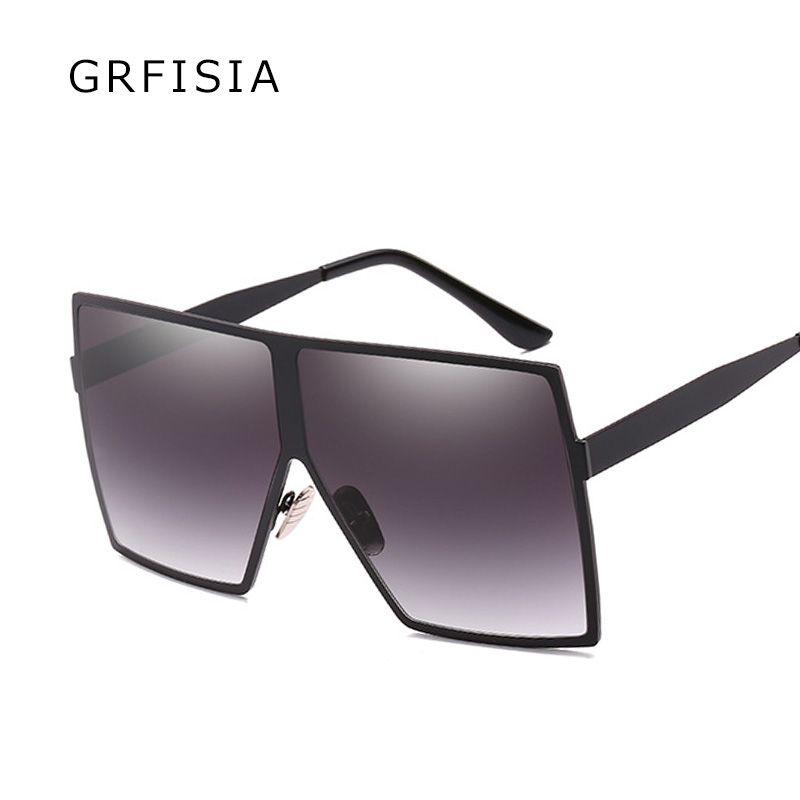 5238a4c57f GRFISIA Metal Frame Oversized Square Sunglasses Men Women Lasses ...