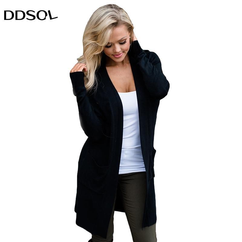 e62f693b9a Maglione lungo cardigan donne moda inverno nero manica lunga sexy cardigan  sottile maglioni femminili cappotto lungo casual top da donna