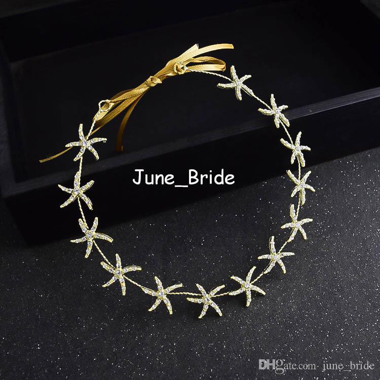 New Stylish Star Rose Gold strass Hairband con nastri Wedding Headband Prom Serata Party Ladies Decoration Head Accessorio di gioielli