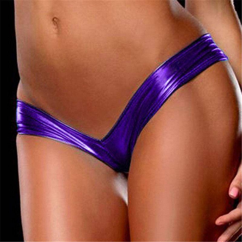 Lingerie Sexy Latex Femmes Slips Bikini String G Cordes Tangas Faux Cuir Faible Taille Sexy Culotte Érotique Slips Sous-Vêtements Femmes Club Wear