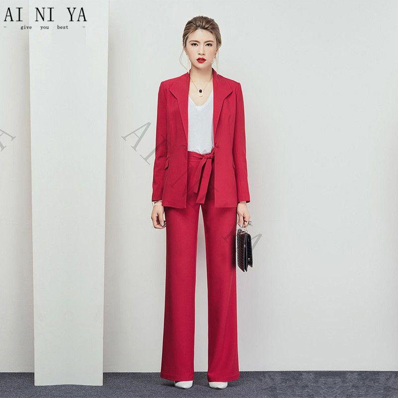 ac08173e7743 Acquista Abiti Da Donna Rosso Chiaro Abiti Da Lavoro Casual Abiti Da Lavoro  2 Pezzi Stili Uniformi Da Ufficio Elegante Tailleur Pantalone Su Misura A  ...