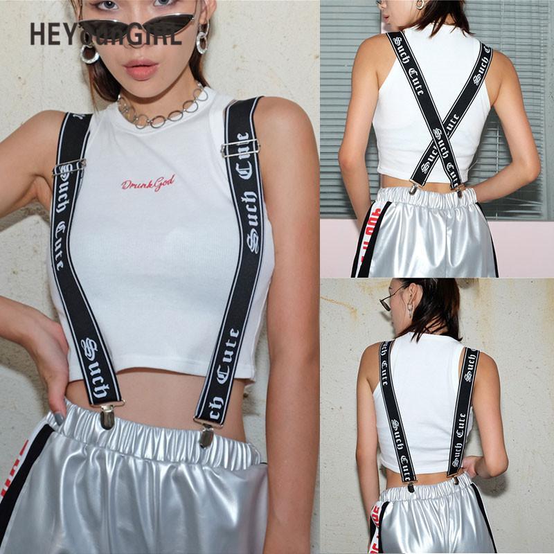 3d3a8b1af80 Compre HEYounGIRL Harajuku Impresso Suspensórios Mulheres Mens Unisex  Calças Ajustáveis Cintas Clip On Calças Suspensórios Cinto Do Punk De  Fashionable16
