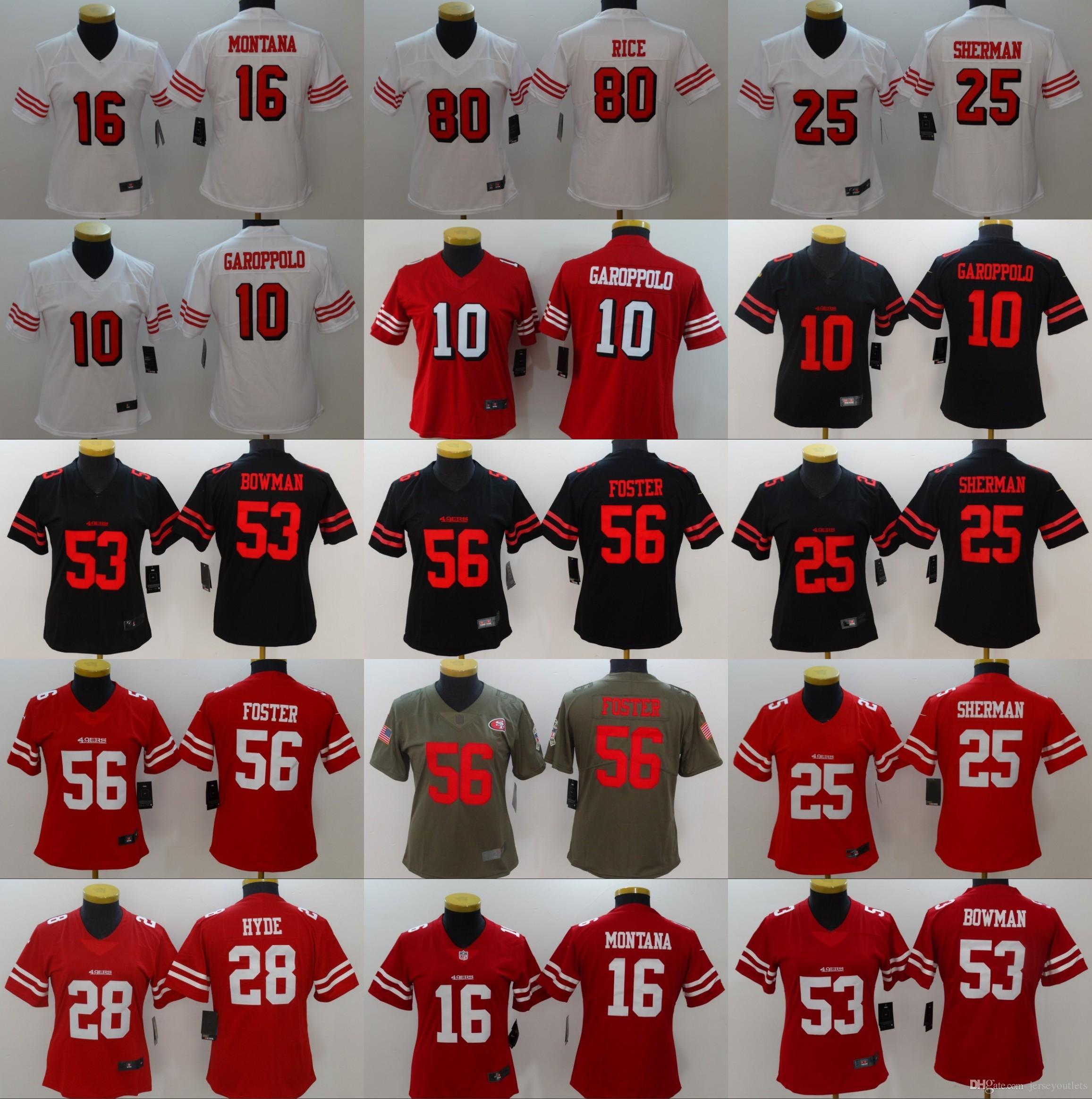 2019 WOMEN 10 Jimmy Garoppolo 25 Richard Sherman Jersey 49ers 56 Reuben  Foster 16 Joe Montana 80 Jerry Rice 35 Jerseys From Jerseyoutlets ae3bdd44f