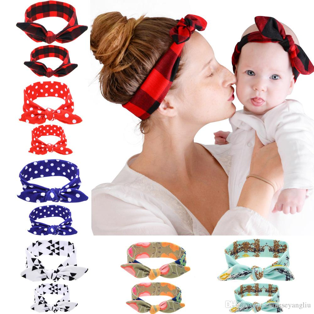 Mother and Daughter Hairbands 6 colors DIY Cotton Hair Accessories Plaid Bow Headbands Rabbit Ear Baby and Mom Handmade Hairbands