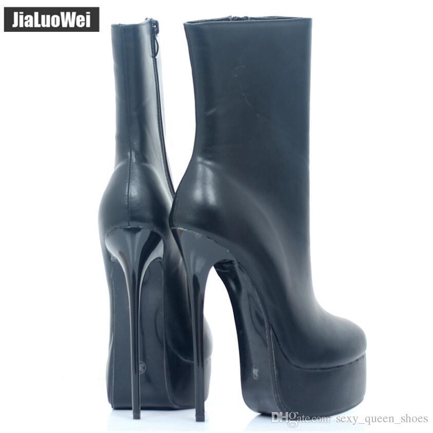 2018 NEW Women High Heels Platform Sexy Fetish Short Half Boots Crocodile Pattern Unisex Man Leopard Ankle Boot Balck Autumn Shoes 16cm