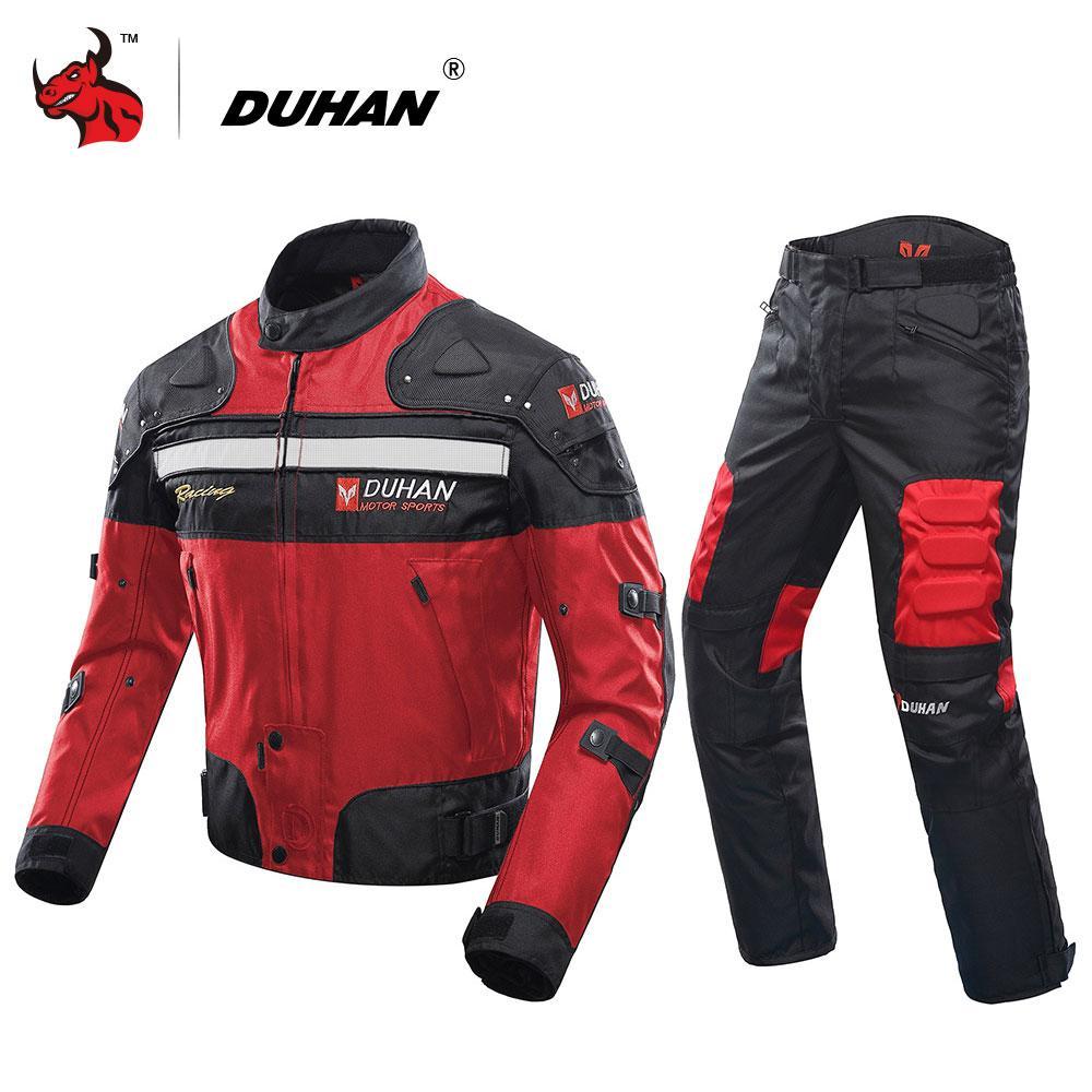 enorme sconto 8a690 22444 Giacca moto invernale a prova di freddo DUHAN Pantaloni moto Pantaloni tuta  da moto Abbigliamento da turismo Set di protezioni nero rosso blu