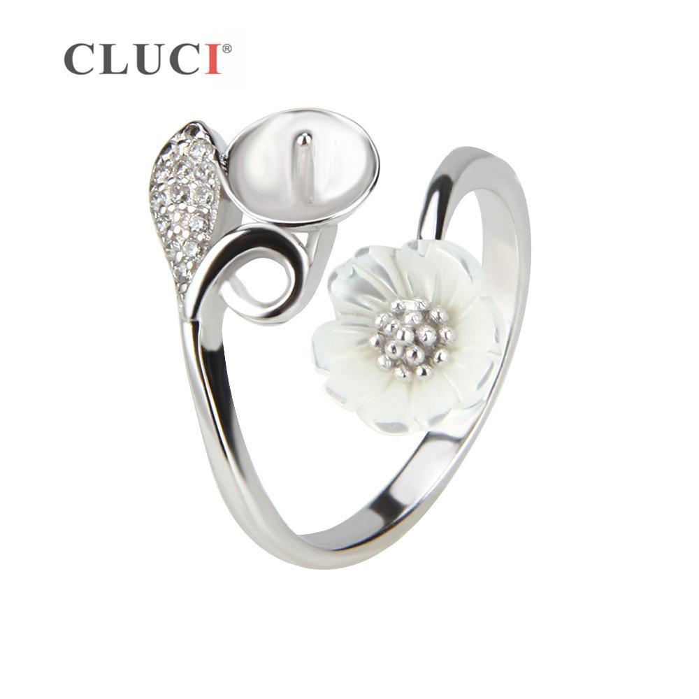 2139ede09a83 CLUCI Charming Flower Design 925 Sterling Silver Adjustable Pearls ...