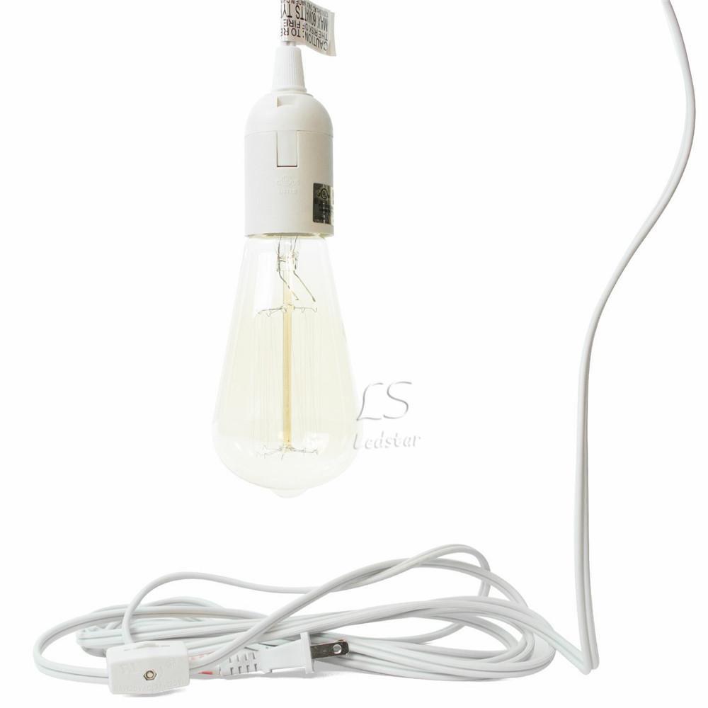Uzun Fener Kolye Işık Lamba Kordon 12 Ayak Uzatma Kablosu kablosu ile On / off Anahtarı veya E26 Baz Ampuller için Dişli Anahtarı