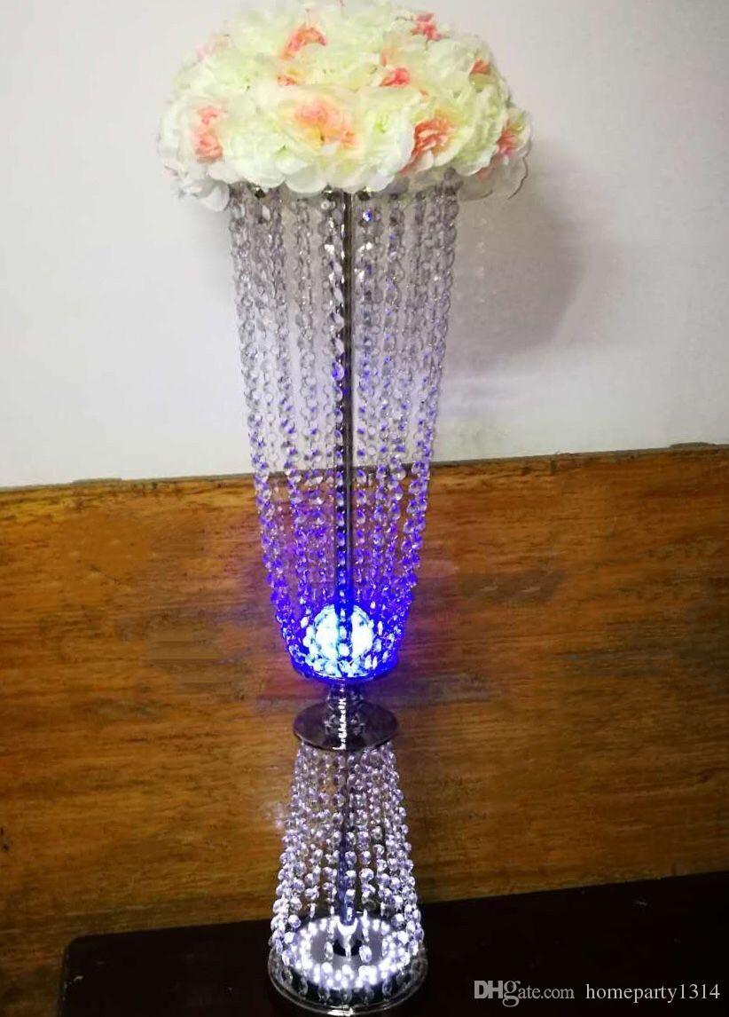 2018 New titular casamento flor vaso de cristal chegada com a cor levou titular bolo partido do evento da tabela do casamento central estande chumbo estrada luz