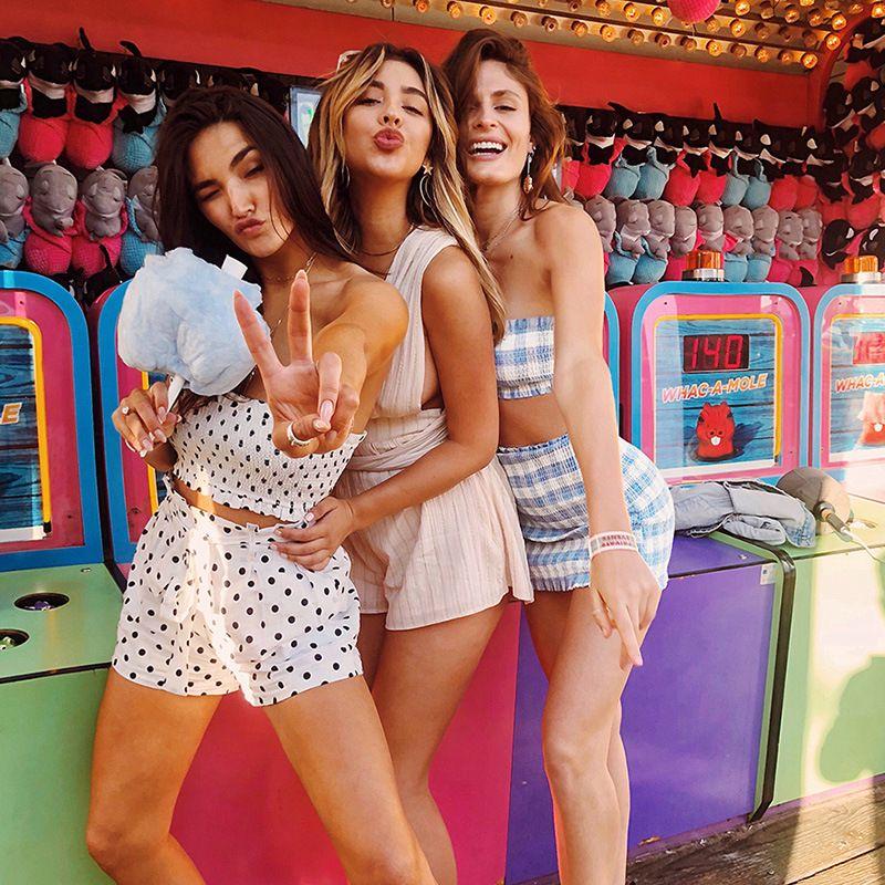 cd1c03959c556 2019 Blue Plaid Crop Tank Top Mini Skirt Sets 2018 Summer Women Fashion  Bodycon Sexy Female Set From Sofie990