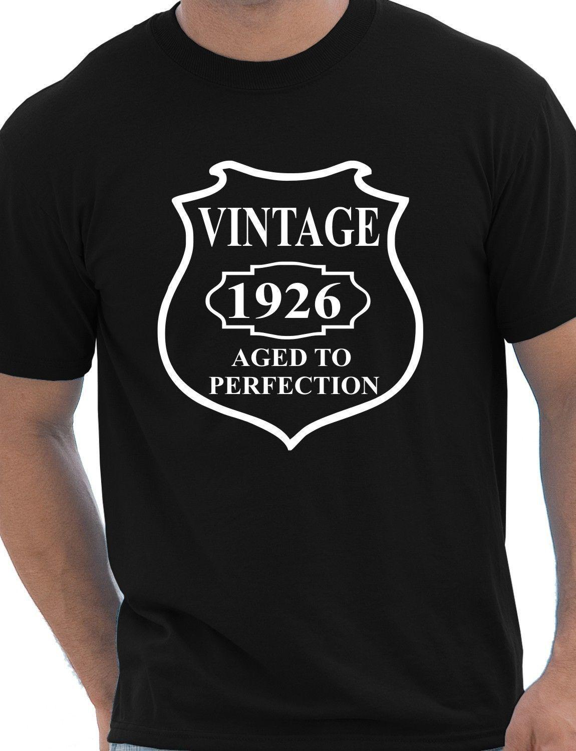 Details Zu 90th Birthday Vintage 1926 Mens Gift Unisex T Shirt Size S XXL Funny Casual Tee Retro Tees Weird Shirts From Universal Fashion