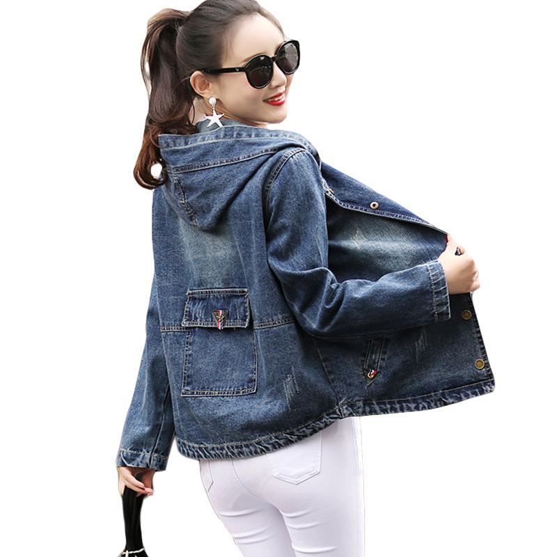 53e0463362 Plus Size 4XL Jeans Jacket Women Casacos Feminino 2018 Vintage Hooded Denim  Bomber Jacket Women Basic Coat Casual Jackets CM2728 Avirex Leather Jackets  Nice ...