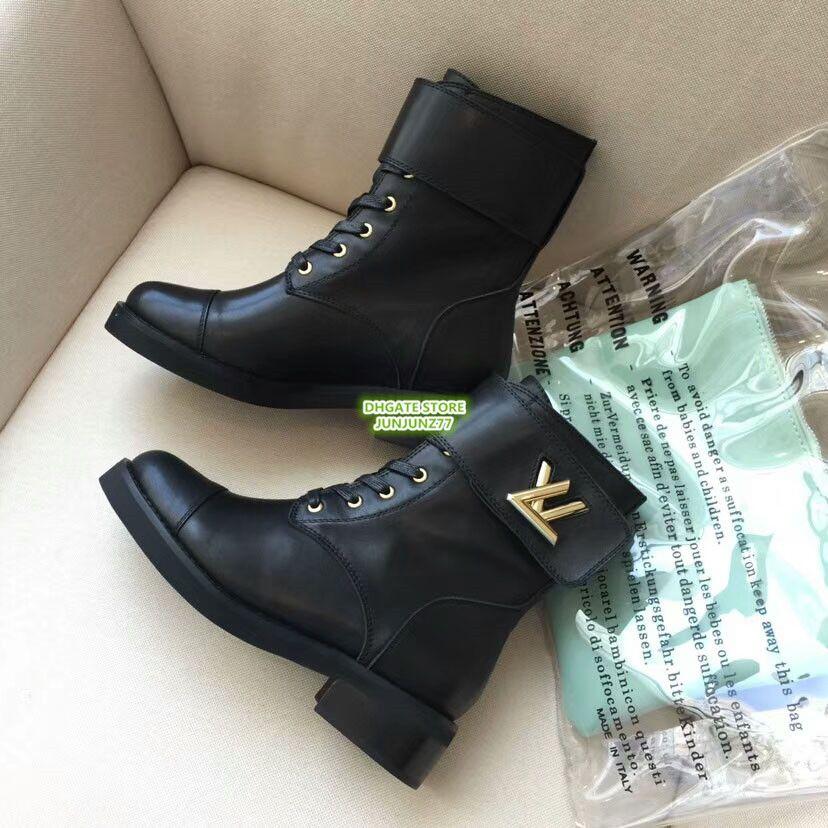 2cdaf3ae Marca Wodnerland Martin Boot Flat Calidad superior 2018 Mujeres de gama  alta de cuero genuino Paris Fashion Week Botines Zapatos Botines