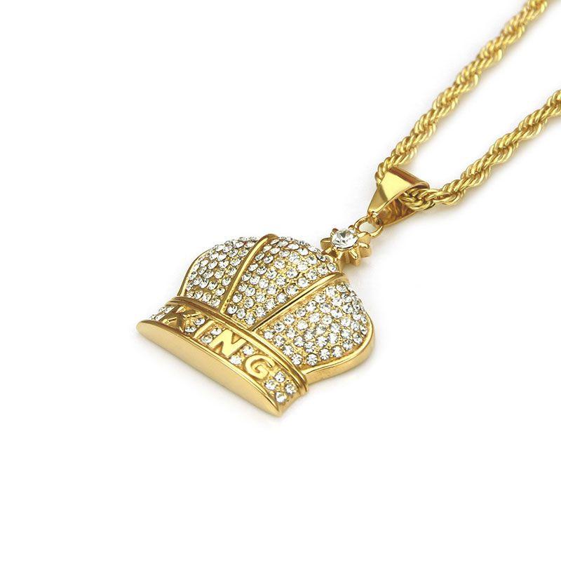 حار بيع الهيب هوب الذهب مطلي قلادة الرجال قلادة الملك ولي مثلج خارج بلينغ بلينغ الأزياء والمجوهرات للهدايا / الحاضر