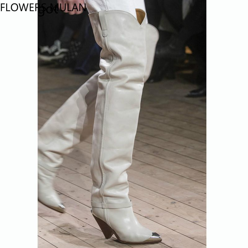 8115c6057b2 Winter New Fashion Show Long Over Knee Boots Women Pointed Metal Toe Slip On  Spike Heel Ladies Botas Sewing Riding Boots Shoes Boots For Women Black  Boots ...