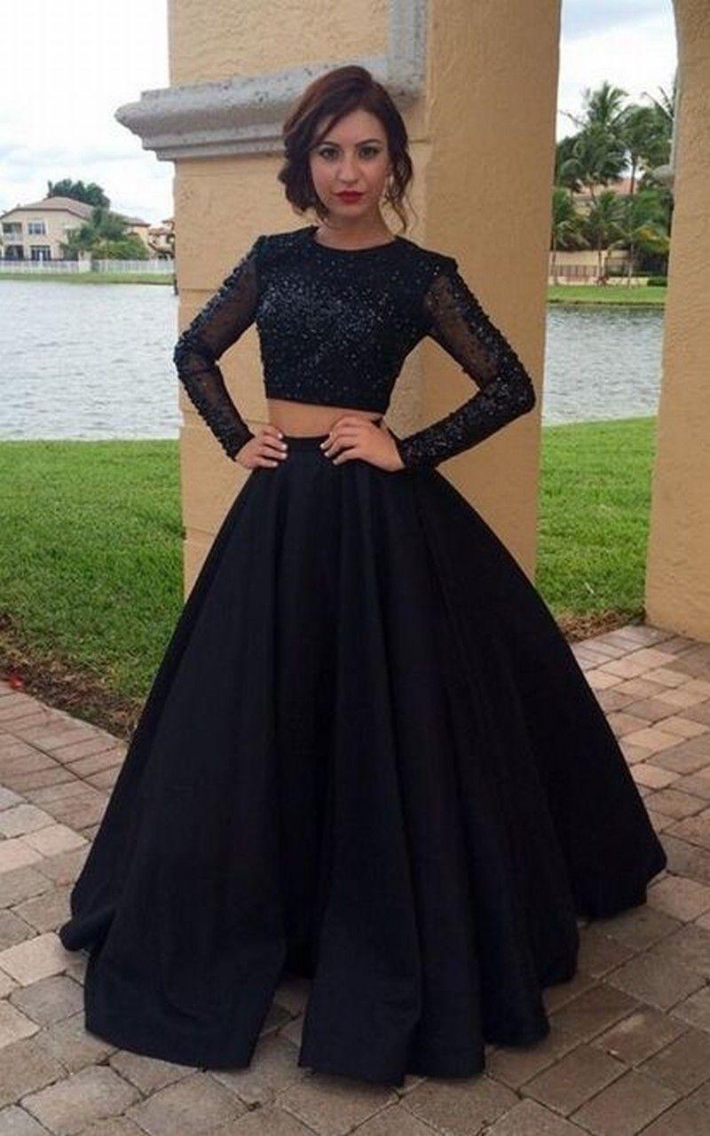 Manches longues deux pièces robe de bal avec des perles de la main modeste noir charmante robes de soirée robes de bal de longueur