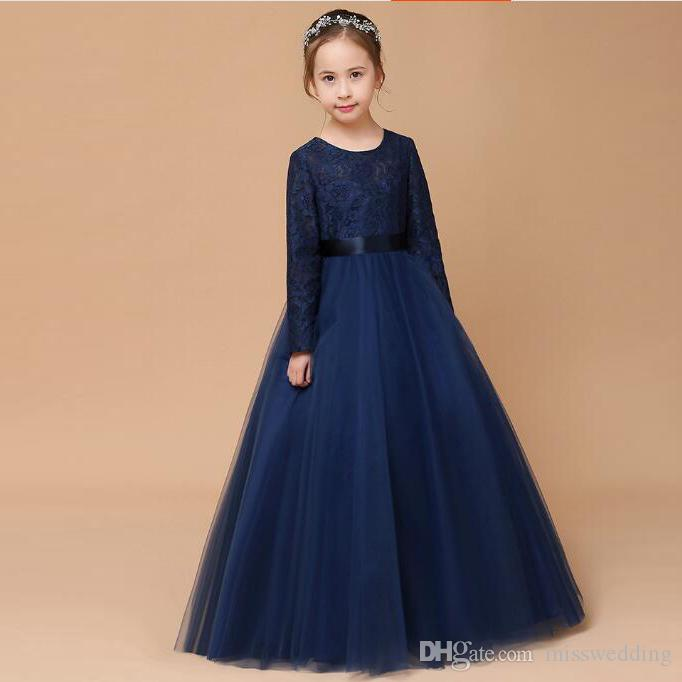 Latest Style Pretty Girls Pageant Dress Long Sleeves Navy Blue Tulle ... 6a56ad5ba8ed