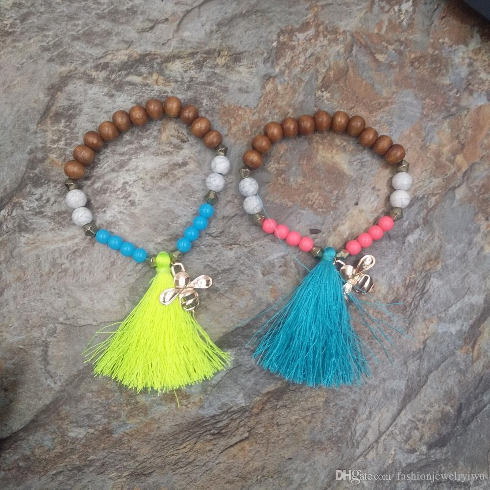 western style fashion round pearl pendant tassel disc pendant bracelet hot selling elastic string pendant bracelet
