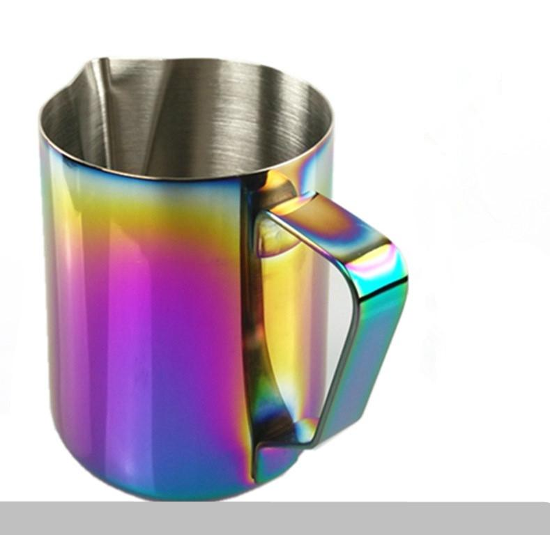 350ml/600ml Milk Frothing Jug Espresso Coffee Pitcher Barista Craft Coffee Latte 20 oz Stainless Steel Rainbow Milk Mugs