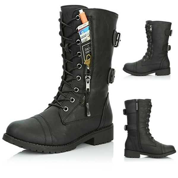 Ladies Plus Size Lace Up Military Boots Flat Heels Combat Style Waterproof Martin Boots Shoes Combat Boots For Women Sexy Shoes From Indelibility_