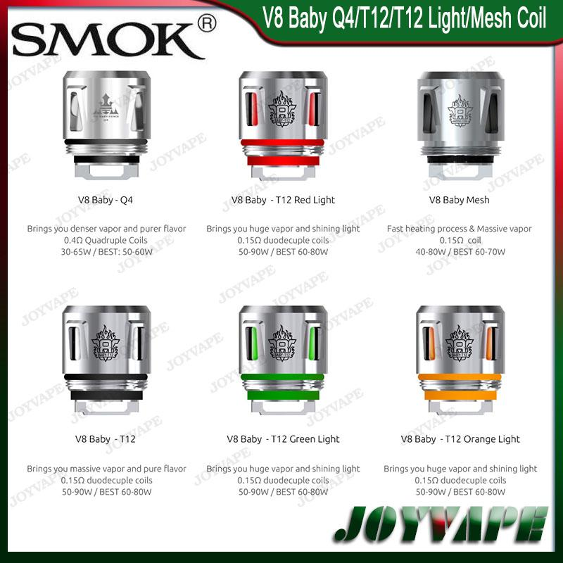 Auténtico SMOK TFV12 Baby Prince Coils V8 Baby-Q4 V8 Baby Mesh V8 Baby-T12 Light / T12 Bobinas Cabezas Compatible con TFV8 Baby Beast Coils