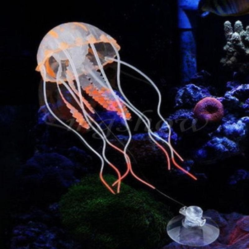 Hohe Qualität Glowing-Effekt künstliche Quallen Aquarium Aquarium Dekoration Mini U-Boot-Ornament Unterwassertier Dekor