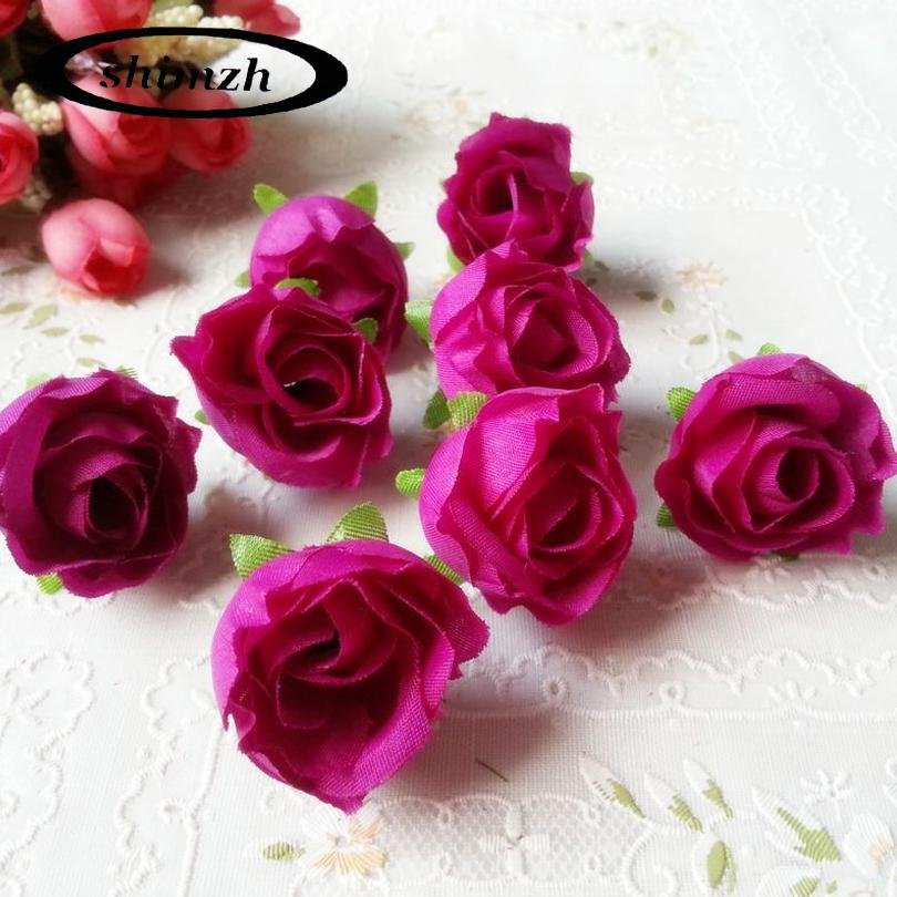 30Pcs / Lot Thumb Silk Flower Heads Wedding Artificial Flowers Birthday Party Decorative Faux Gifts Flower DIY Accessories