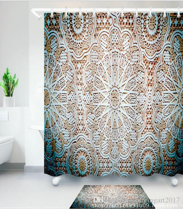 2019 3D Morocco Style Print Bath Shower Curtains African Girl Modern Curtain For Bathroom Decor With 12 Hooks Floor Mats Sets From Paintingart2017