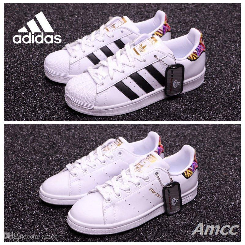 discount sast sale get to buy Adidas Superstar Footlocker Stitch Superstars Women Men Running Shoes Sneakers Stan Smith White Floral Sport Tennis Designer Mens Trainers sale with mastercard sale 2015 OIlR6EVp