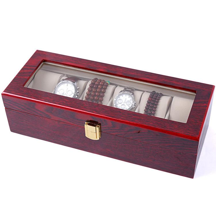 6 Slot Watch Case Wooden Display Watch Box Bracelet Jewelry