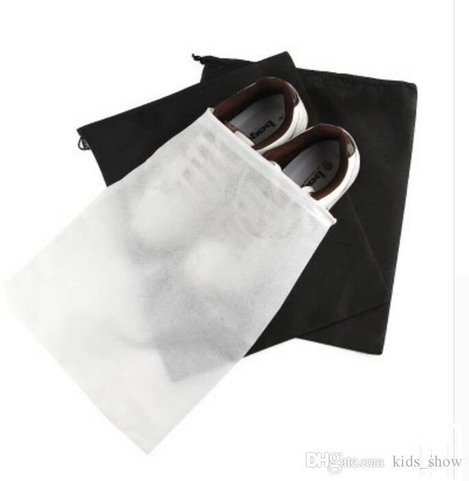 ion Non-tissé Chaussure Cordon De Rangement De Voyage Emballage Dust-fourre-tout Étui À Poussière Etui Noir Blanc