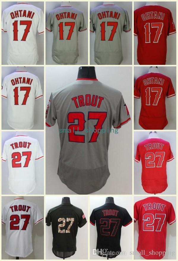 buy popular 43fec 7ceff Los Angeles Shohei Ohtani Jersey 27 Mike Trout Red White Grey Black Cool  Base Flexbase Best Quality Baseball Jerseys