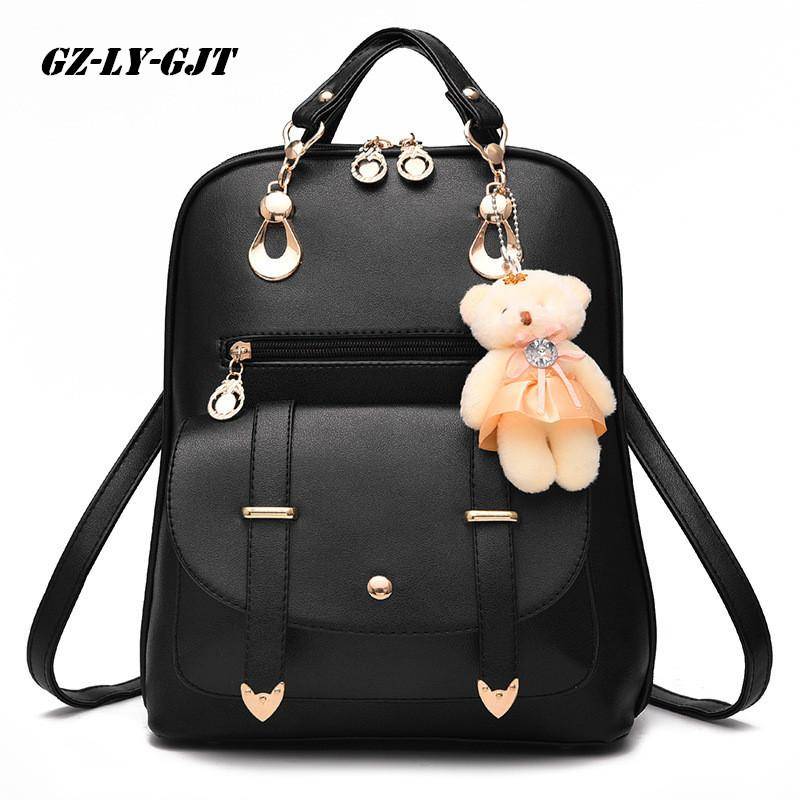 378d9446cb2c GZ LY GJT Bear Backpack Female School Bags For Girls Backpacks For Women Bag  Travel Shoulder Bags Sac A Main PU Leather Backpack Swiss Backpack Laptop  ...