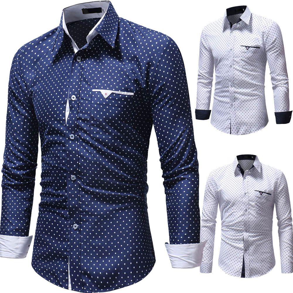 fd22037bb41 2019 Fashion Print Casual Men Long Sleeve BusinessFashi Shirt Stitching  Pocket Design Soft Comfortable Men Brand Dress Slim Fit Style From  Odelettu