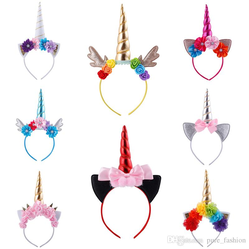 New Unicorn Flower Hairbands Lovely Girls Birthday Crown Head Hoop Glitter Horn antlers Headwear Fashion Kids Hair Accessories